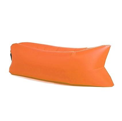 Panda Puff Hinchable Sofa Tumbona de Aire Color Naranja