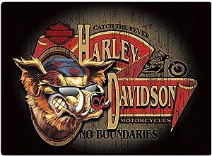 Harley-Davidson No Boundaries Hog Embossed Tin Sign, 17.125 x 12.5625 in 2010491