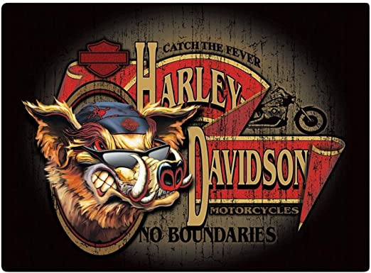 10.5 x 16.5 inches 2011241 Harley-Davidson Dogs Understand Embossed Tin Sign