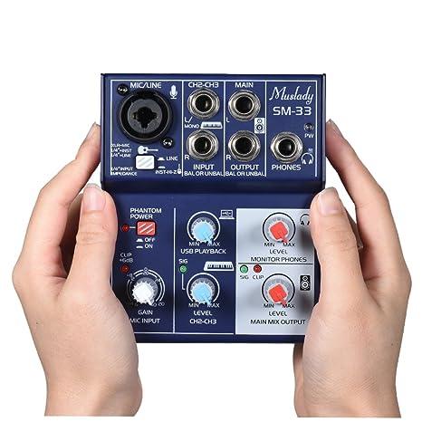 Kalaok SM-33 Mini tarjeta de sonido de 3 canales Mezcladora ...
