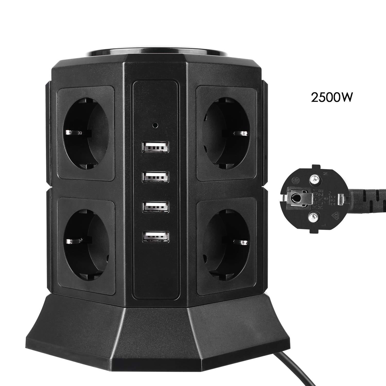 Regleta Vertical con 8 Tomas de Corriente y 4 Cargas USB MVPOWER Incluida Protecció n contra Sobretensiones y Cortocircuitos, Adecuado para Ordenadores y Otros Dispositivos, 2500W/10A