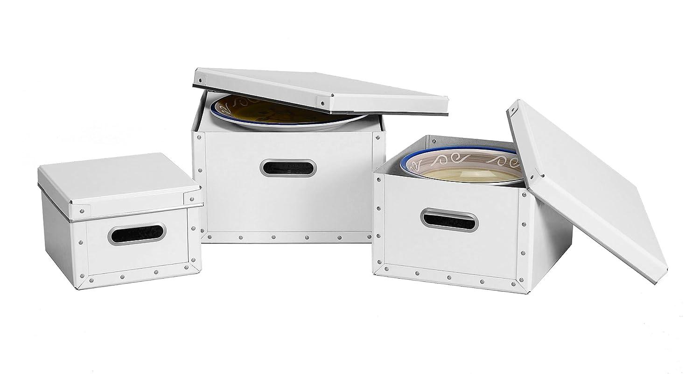 Amazon.com Cargo Moderne Dinnerware Storage Boxes Set of 3 White Home u0026 Kitchen  sc 1 st  Amazon.com & Amazon.com: Cargo Moderne Dinnerware Storage Boxes Set of 3 White ...