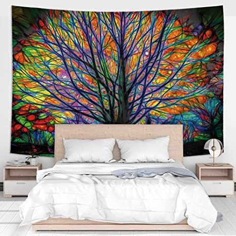 Amazon Com Jhdstore Colorful Tree Tapestry Wall Hanging Psychedelic Bohemian Hippie Wall Decor Art For Bedroom Living Room College Dorm 51x59 Inch Home Kitchen