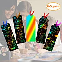 Scratch Rainbow Bookmarks,Magic Scratch Paper Art Bookmarks Notes Cards DIY Gift Tags with Satin Ribbons,Wood Stylus,Rope,Storage Bag for Kids Party Favor, Craft Supplies, Classroom Activities
