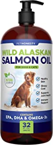 PetHonesty Wild Alaskan Salmon Oil for Dogs - Omega-3 for Dogs - Pet Liquid Food Supplement - EPA + DHA Fatty Acids Reduce Shedding & Itching - Supports Joints, Brain & Heart Health