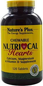 NaturesPlus Nutri-Cal Hearts Chewables - 500 mg Calcium, 120 Tablets - Vanilla Flavor - Calcium, Magnesium & Vitamin D Supplement - Supports Healthy Bones & Natural Energy Production - 60 Servings