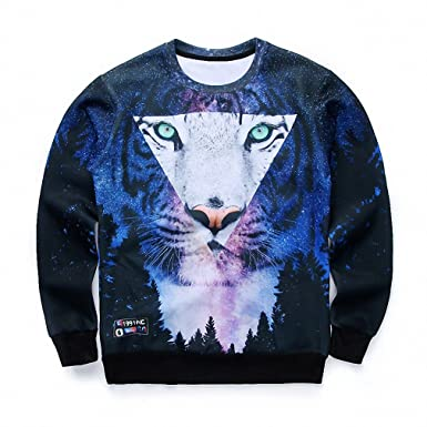Crochi Men/Women Harajuku Print Animal Leopard Tiger Pullover 3D Hoodies Funny Galaxy Space Sweatshirt Sudaderas Tops Clothes at Amazon Womens Clothing ...