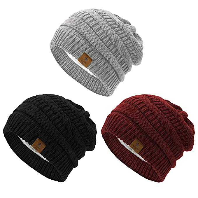 8e2667340 Durio Womens Winter Beanie Hat Fleece Lined Warm Slouchy Beanies for Women  Unisex Knit Solid Beanies Skiing Snowboarding