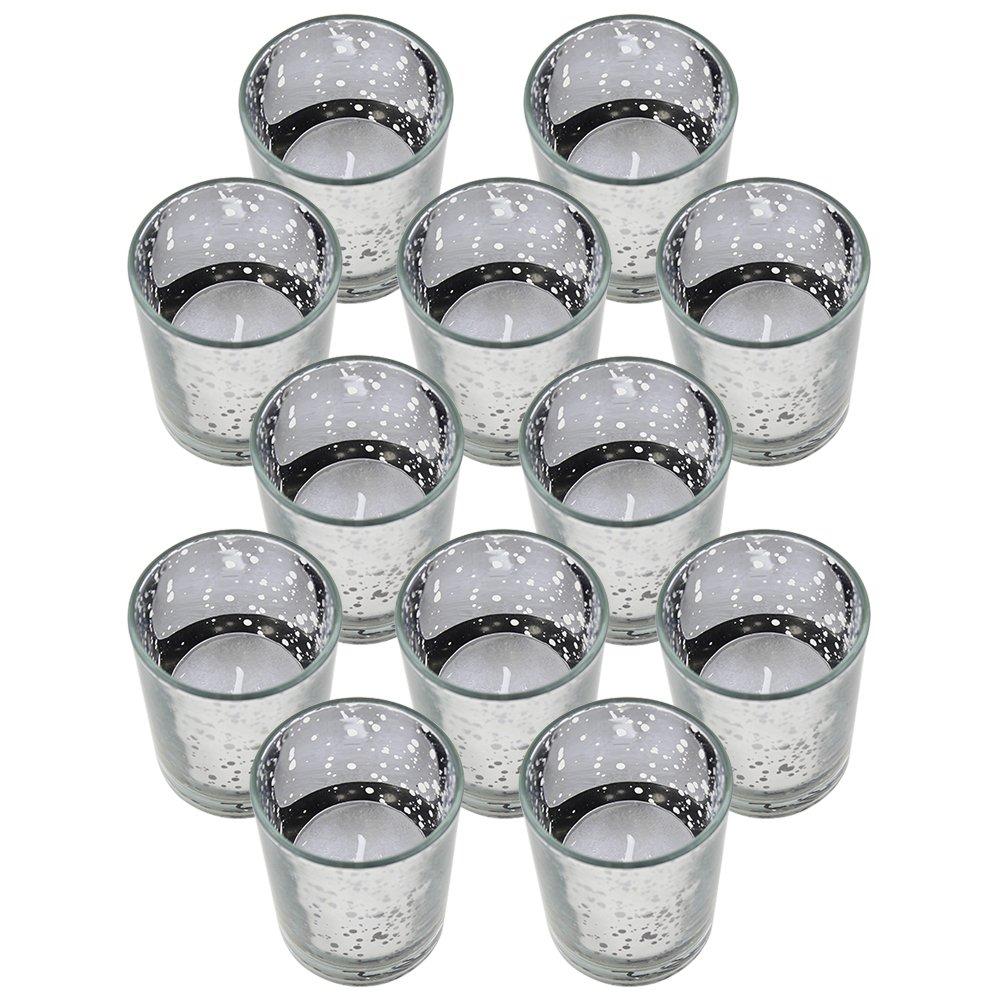 Just Artifacts Speckled Mercury GlassVotiveCandle Holder 2.75'' H(12pcs,Silver Votives) w/12pcs Wax Tea Light Candles Included