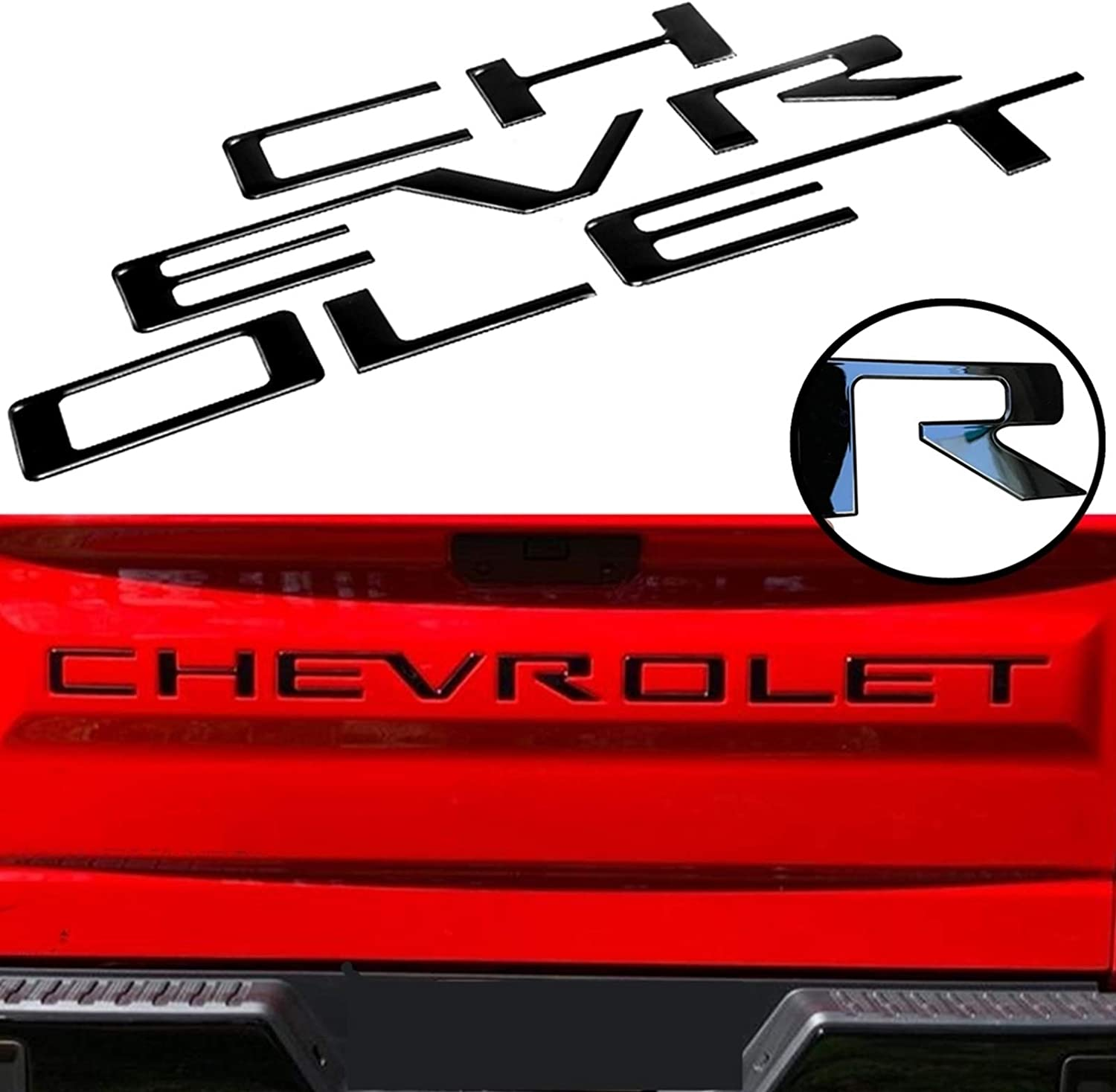 3D Raised /& Strong Adhesive Decals Letters Tailgate Emblems Inserts Letters Mr Udinese Tailgate Inserts Letters Compatible with 2019 2020 Chevrolet Silverado Red