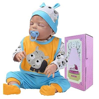 "Lifelike Reborn Baby Dolls Silicone Full Body Reborn Doll Baby Boy Soft Vinyl 22"" Washable Toy : Baby"