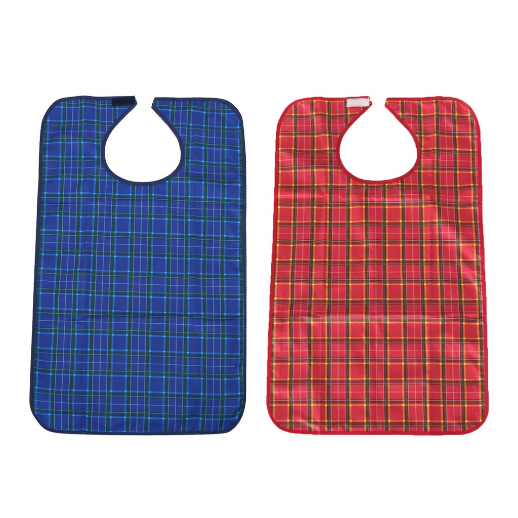 Baoblaze 2 Pieces Waterproof Adults Elder Mealtime Cloth Protector Disability Aid Bib with Food crumb catcher