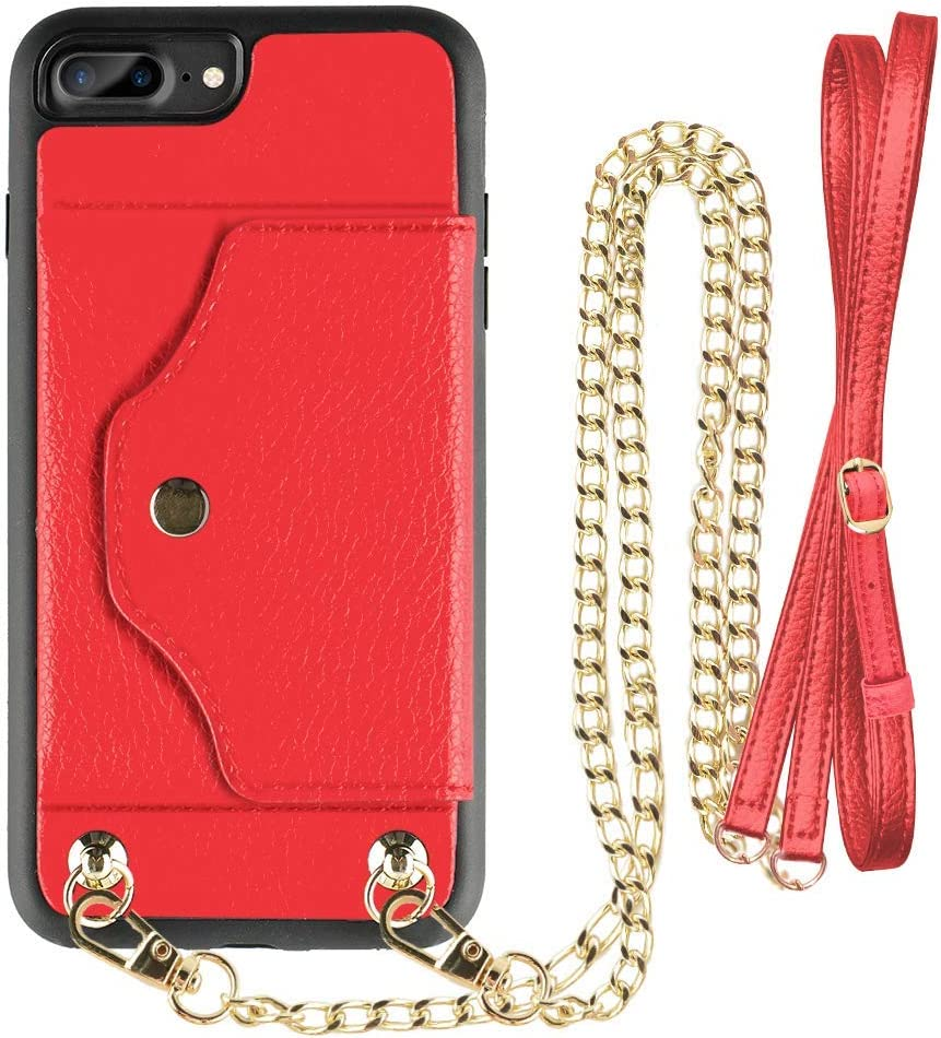 LAMEEKU iPhone 8 Plus Wallet Case, iPhone 7 Plus Case Leather with Credit Card Holder Slot, Protective Cover with Crossbody Strap Wrist Strap for Apple iPhone 7 Plus/8 Plus 5.5''-Red