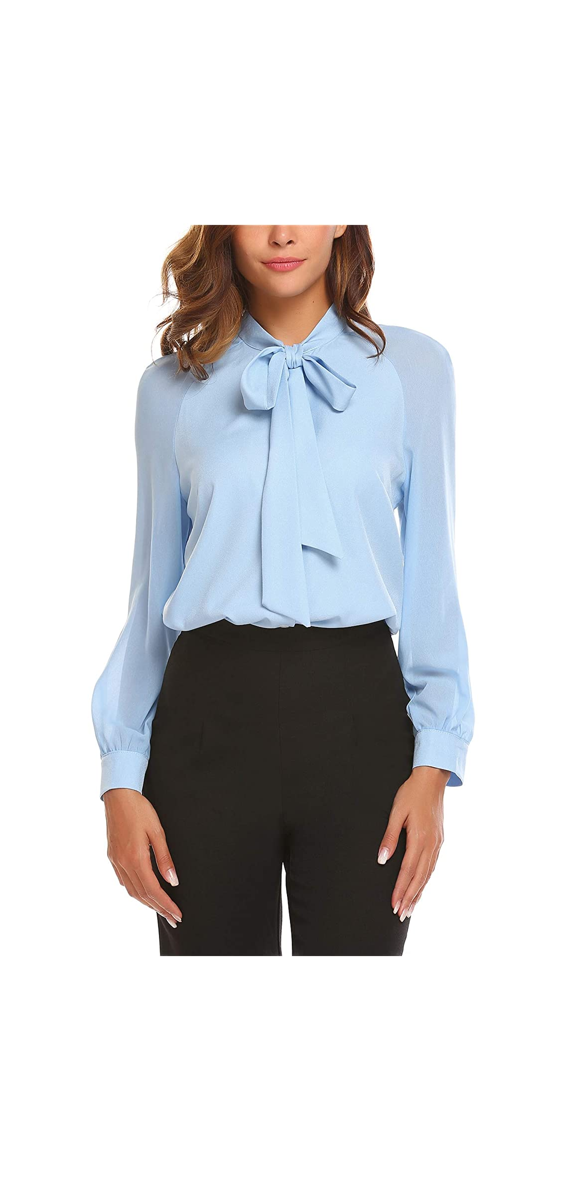 Women Bow Tie Neck Chiffon Blouses Sheer Long Sleeve
