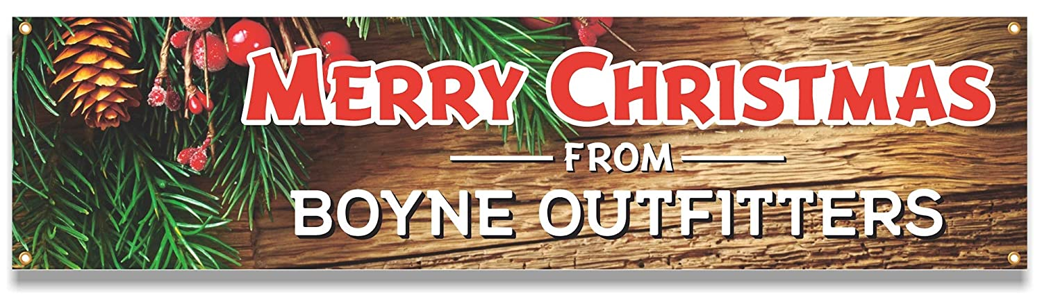Personalized Christmas Holidays Banner with Custom Text on Two Lines Church for Business Organization or Home Use School Custom Message Banner Decoration with Evergreens and Holly Berries