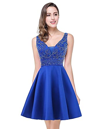 d857b34de23 Women s Short Beaded Homecoming Dresses 2018 A-Line Formal Prom Gowns Size  0 Royal Blue