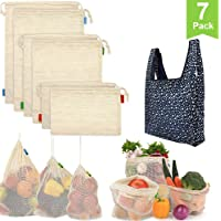 GEHARTY Reusable Produce Bags, Organic Cotton Mesh Bags for Shopping and Storage with Tare Weight on Tags, Double-Stitched Seams, Machine Washable, Biodegradable, Eco-Friendly(7 Pack)