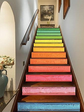 FLFK 3D Pintura al óleo colorida del arte del arco iris auto-adhesivos Pegatinas de Escalera pared pintura vinilo Escalera calcomanía Decoración 39.3 pulgadas x7.08 pulgadas X 13Piezas: Amazon.es: Bricolaje y herramientas