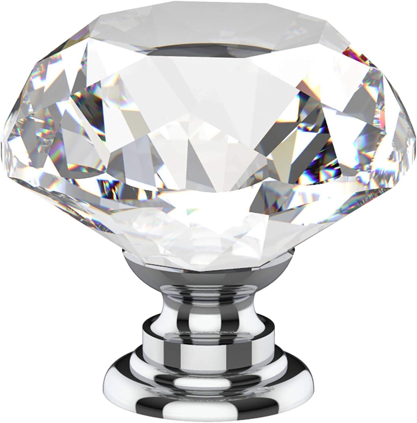 ALXY Door Handle Drawer Handle 8 Pieces of Portable Furniture Handle 30mm Diamond Crystal Glass Alloy Door Drawer Cabinet Handle,