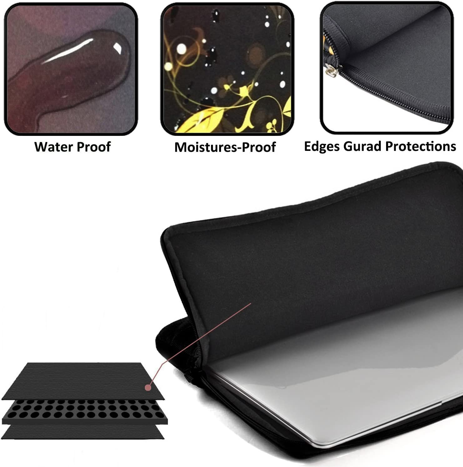 Laptop Sleeve Case Drought Protective Bag for 15 Inch Surface Laptop//Notebook//Acer//Asus//Dell//Lenovo//iPad//Surface Book