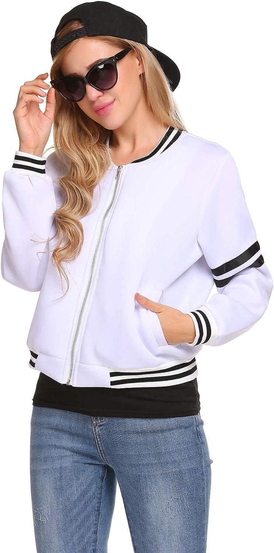 Zeagoo Women Lightweight Quilted Zip Up Baseball Bomber Jacket Coat Outwear