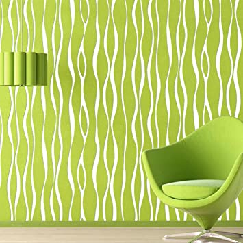 gaojian Moderne Gestreift Streifen Vertikal Wave Muster Tapete Grün ...