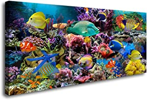 D72674 Great Barrier Reef Colorful Coral and Fish Large Wall Decor Canvas Wall Art Artwork Painting Ocean Decor for Living Room Bedroom Bathroom Decoration