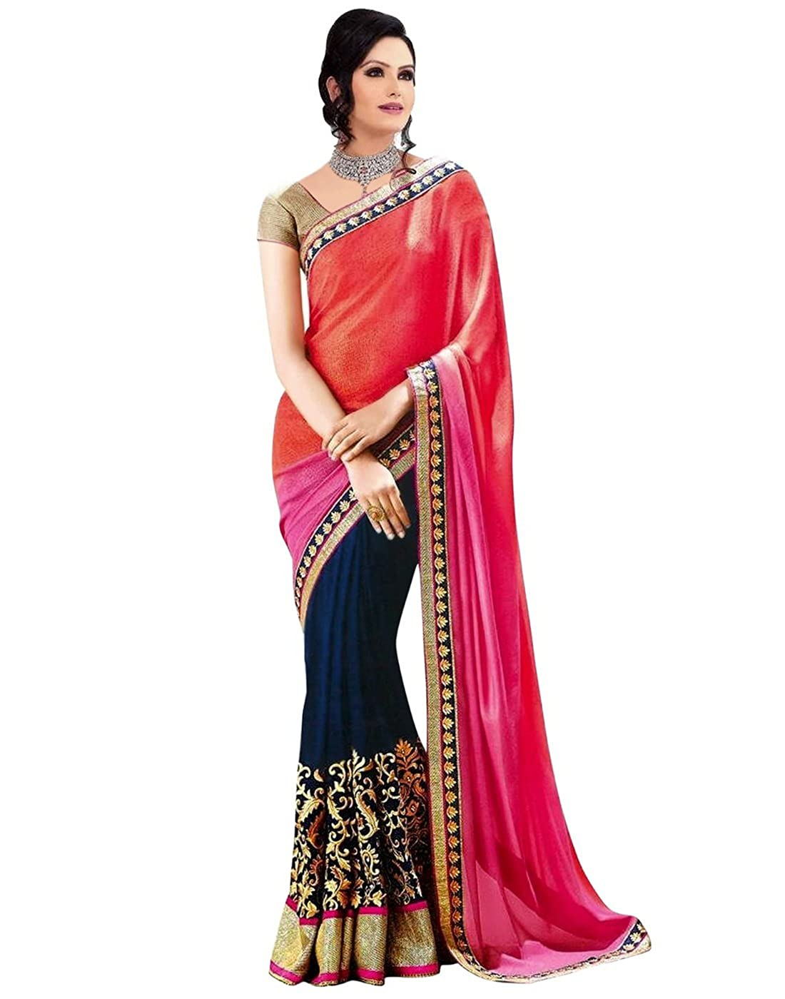 Lookslady Embroidered Orange & Dark Blue Georgette Saree Webdeal Services