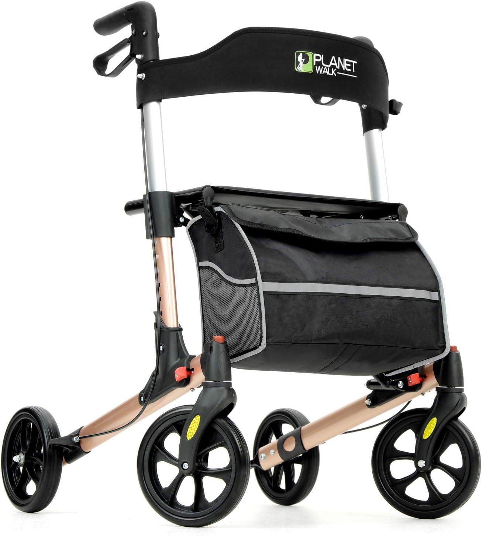 Planetwalk Premium Rollator Walker - Foldable Rolling Walker with Seat & Bag - Soft Wheels Comfort Design - Gift for Senior (Rose Gold)