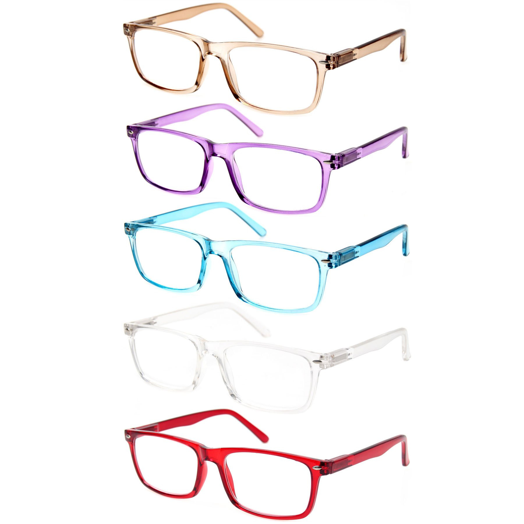 Reading Glasses 5 Pack Great Value Quality Fashion Men and Women Unisex Glasses for Reading (5 Pack Mix Color, 1.50)