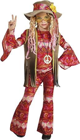 chiber Disfraces Disfraz de Hippie Flower Power para Niña (Talla 8 ...