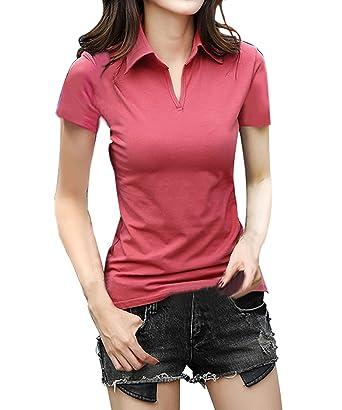 63e9b16a5312ce FACE N FACE Damen Baumwolle V-Ausschnitt Kurzarm Casual Oberteile Poloshirt  Frauen Hemd