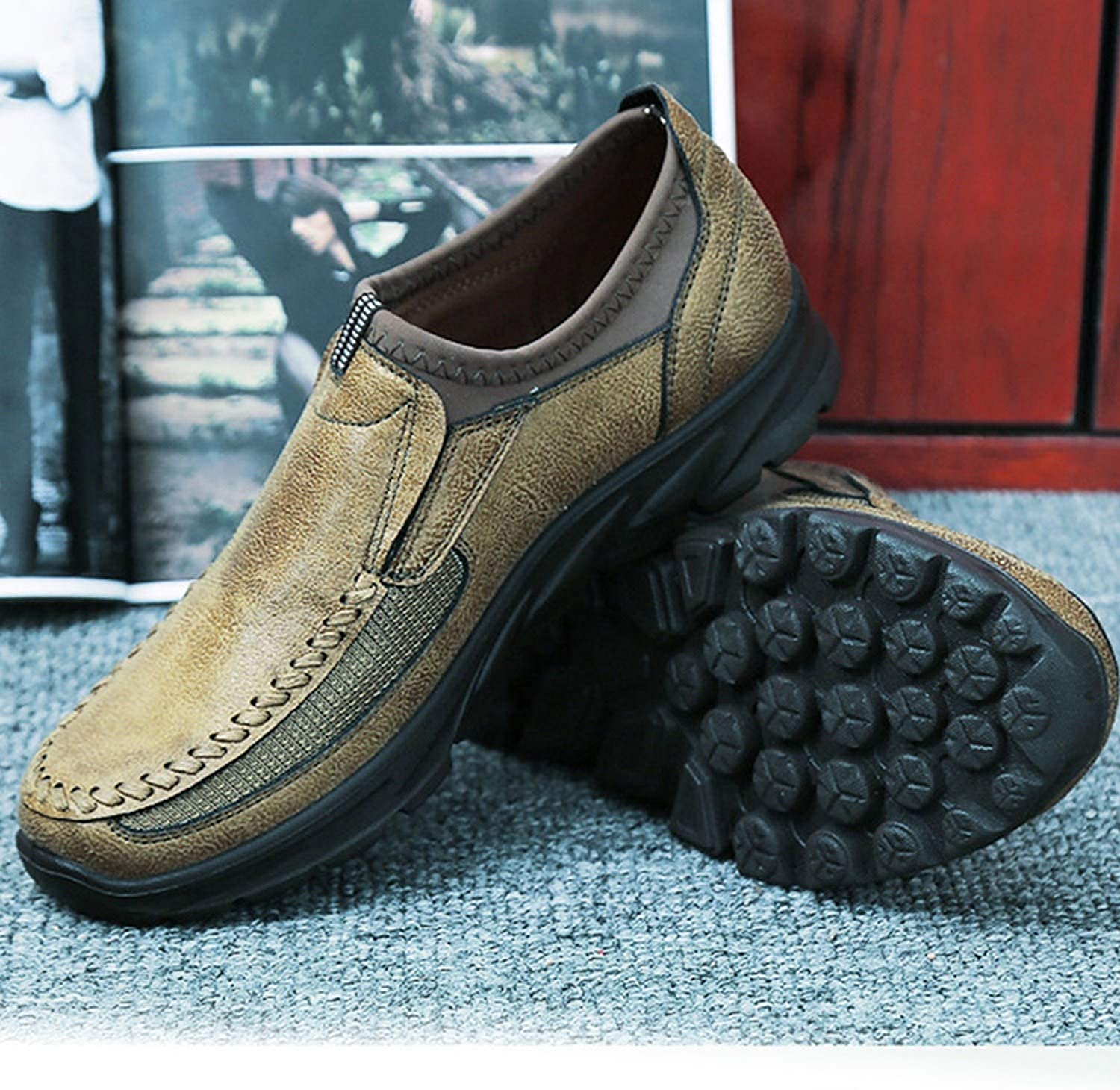 Faux Suede Shoes Breathable Single Footwear Slip On Sole Loafers Male Casual Outdoor Sneaker Anti Slip,Brown,10,Spain