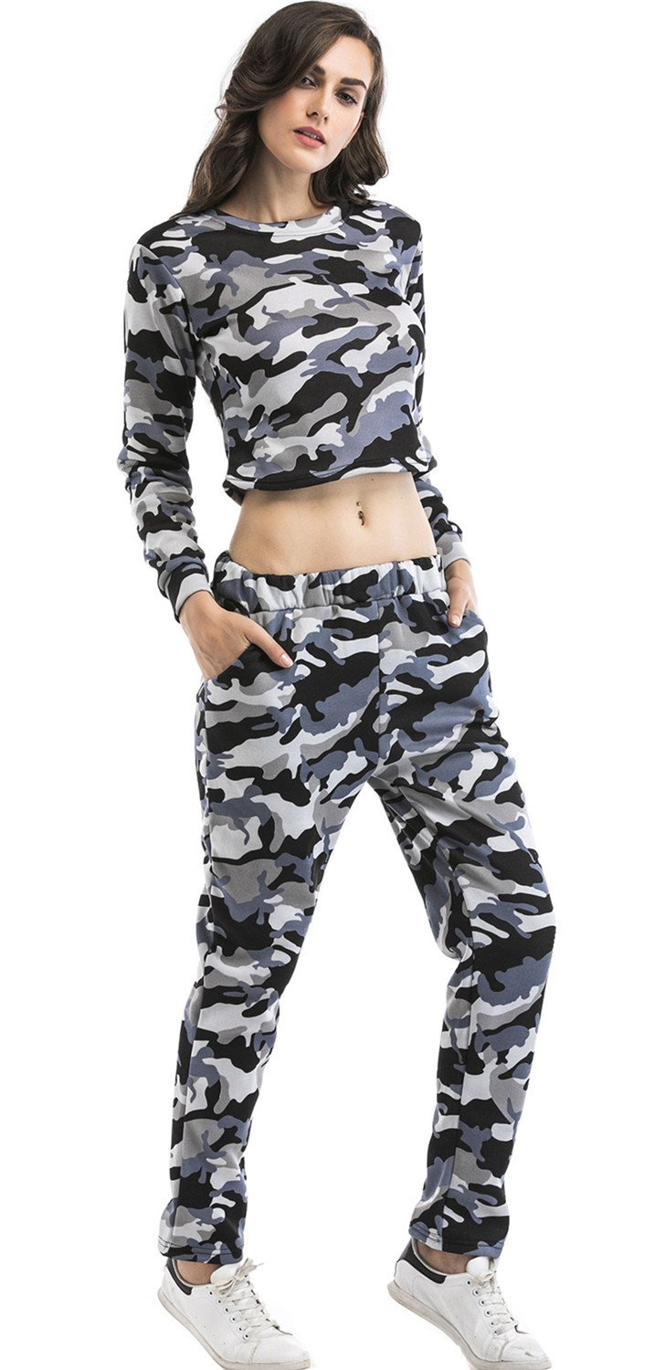 2 Pcs Military Camo Camouflage Jogger Running Fitness Sweatshirt Cropped Crop Top Sweatpants Tracksuit Set Army Grey S