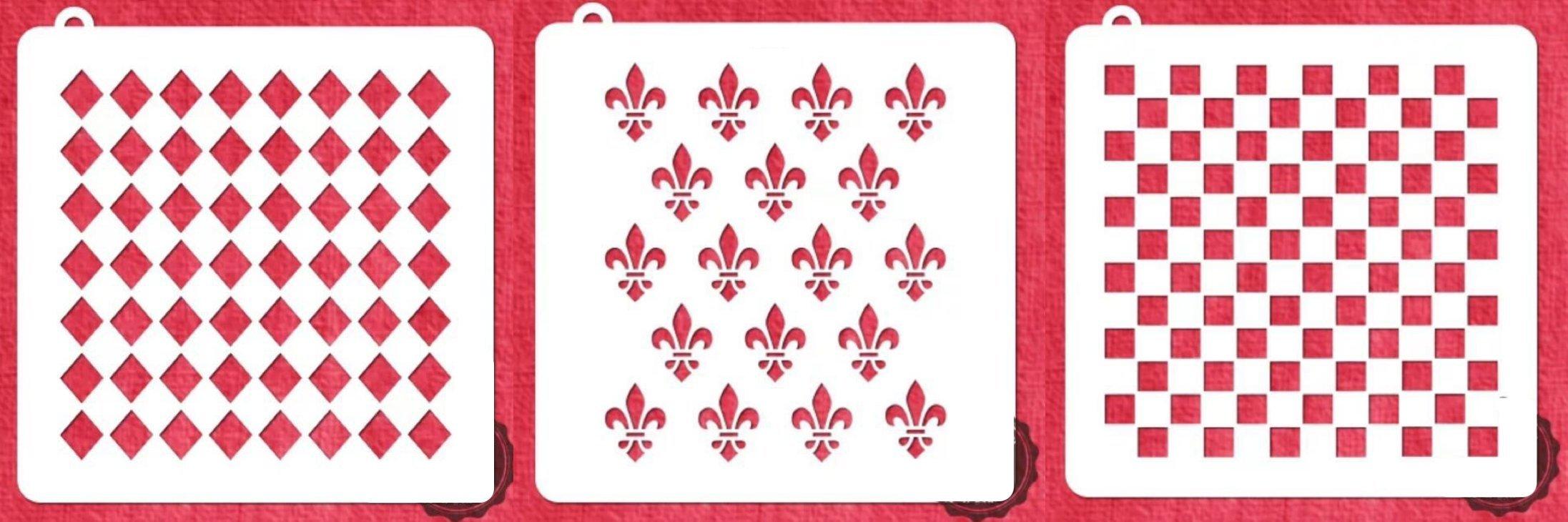 American Confections Fleur-de-lis, Square, Diamond Cookie Stencil Set of 3