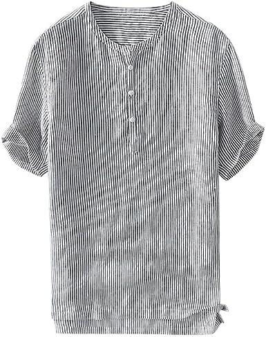 Abetteric Mens Shirts Short Sleve Stripe Summer Original Fit Shirt Blouse Tops