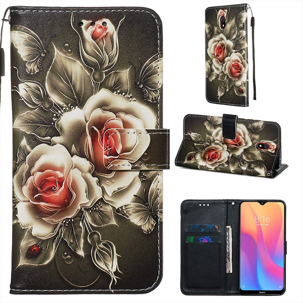 Miagon for Xiaomi Redmi Note 8 Pro Wallet Case,PU Leather Folio Flip Cover with Stand Card Slots Magnetic Closure,Rose Flower