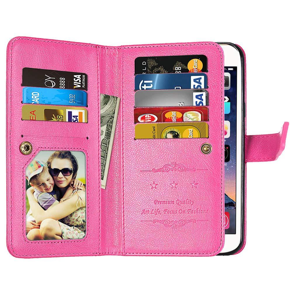 DENDICO Coque Galaxy S8 Plus Noir Flip Portefeuille Cover en Cuir Ultra-Mince Anti-Choc Etui avec 9 emplacements pour Cartes pour Samsung Galaxy S8 Plus
