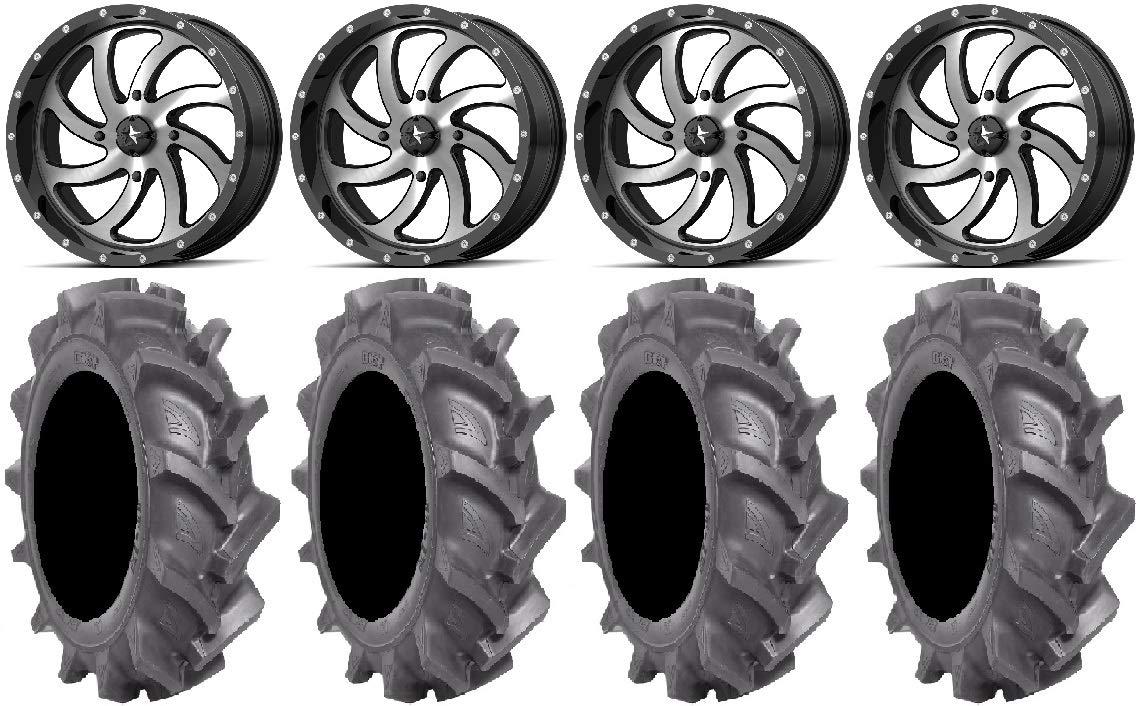 Bundle - 9 Items: MSA Mach Switch 18' Wheels 33' BKT AT 171 Tires [4x156 Bolt Pattern 3/8x24 Lug Kit] Multiple