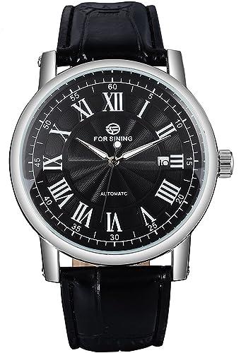carlien Hombres Moda relojes automático para hombre reloj negro Dial Automático Fecha números romanos piel banda: Amazon.es: Relojes