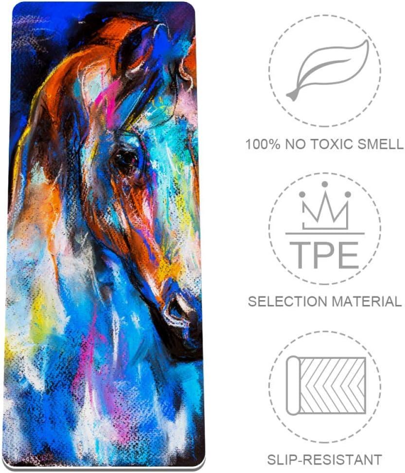 Bennigiry - Esterilla de yoga antideslizante, diseño de caballo sobre cartón, para mujeres y niñas, tapete de ejercicio suave, esterilla de pilates de 72 x 32 pulgadas, 1/3 pulgadas de grosor