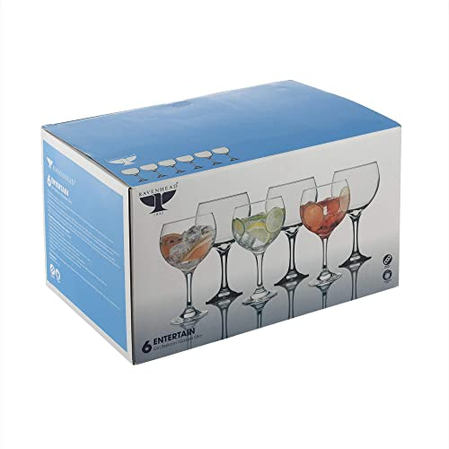 Ravenhead Entertain Set of 6 55 Cl Gin balloon Glasses For The Price of 4, Transparent