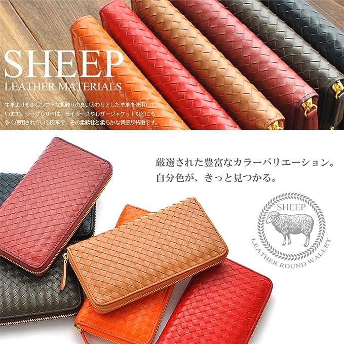 54a350ff11da Amazon.co.jp: [ SHEEP 0311 ] 柔らかい 羊革 メッシュ ラウンド 長財布 誕生日プレゼント レディース財布 (ワイン):  文房具・オフィス用品