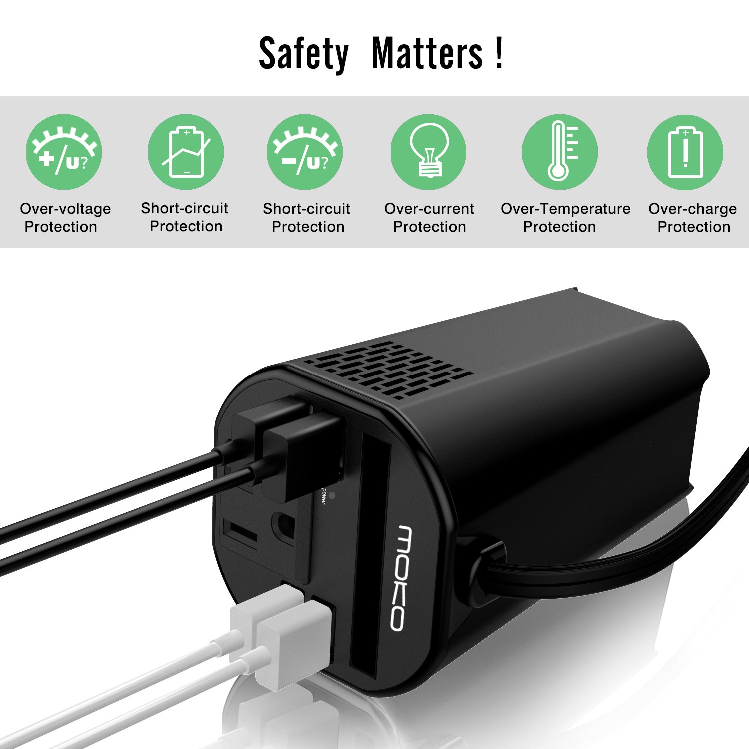 MoKo 150W Car Power Inverter, DC 12V to 110V AC Outlet Cup Holder Converter Adapter, with 4 USB Port Charger, for iPhone X/8/8 Plus, MacBook, iPad Pro, Chromebook, Galaxy S8 and etc. (Black) by MoKo (Image #6)
