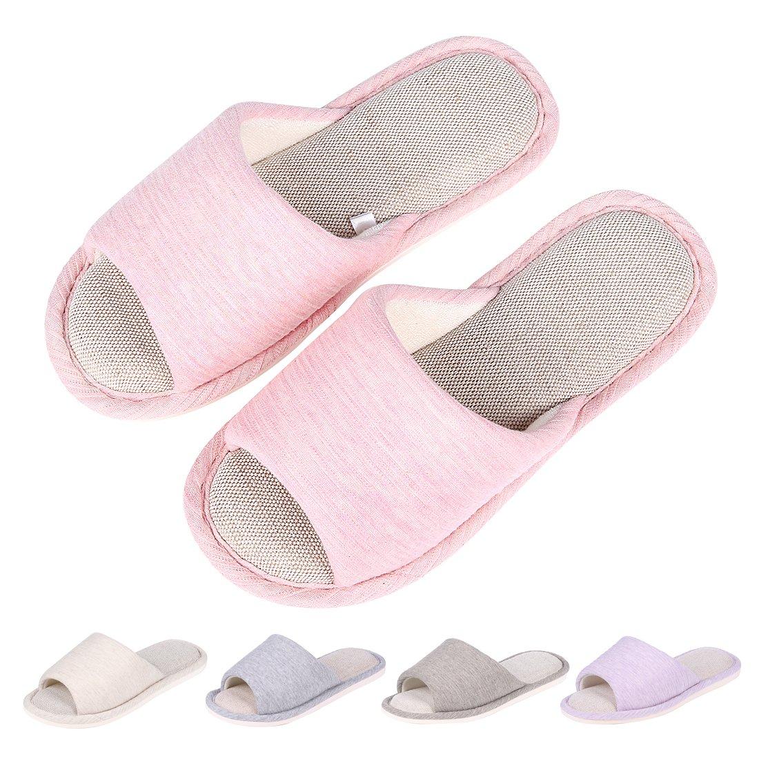Women's Memory Foam House Slippers Summer Linen Home Shoes Open Toe Slip on Cotton House Slippers PK-M