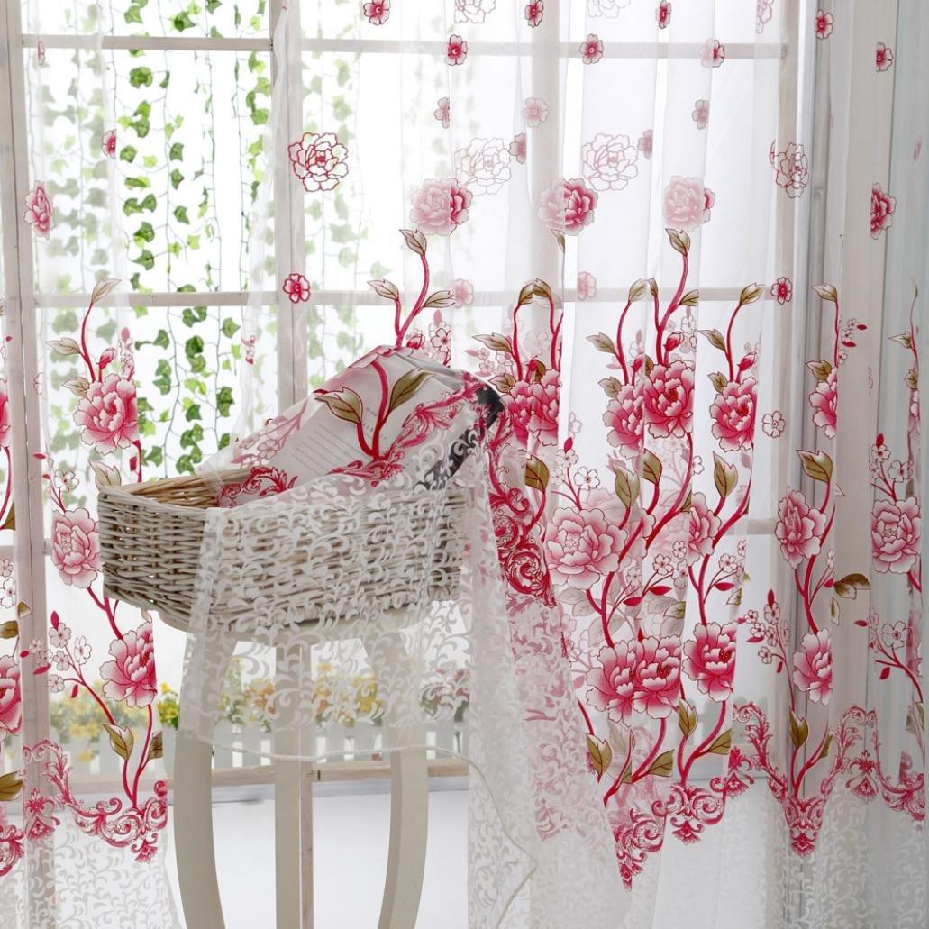 Rose Rameng Rideau Voilage Transparent Oeillet Rideau Douche pour Salon et Chambre
