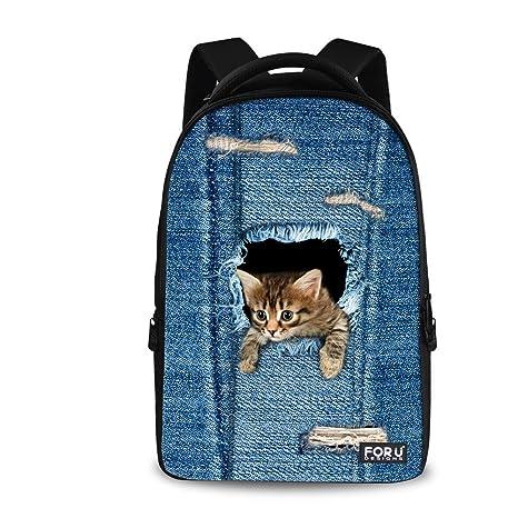 578c06fcd12 Amazon.com   HUGS IDEA Cute Small Blue Cat Printing Backpack School Book  Bag   Kids  Backpacks