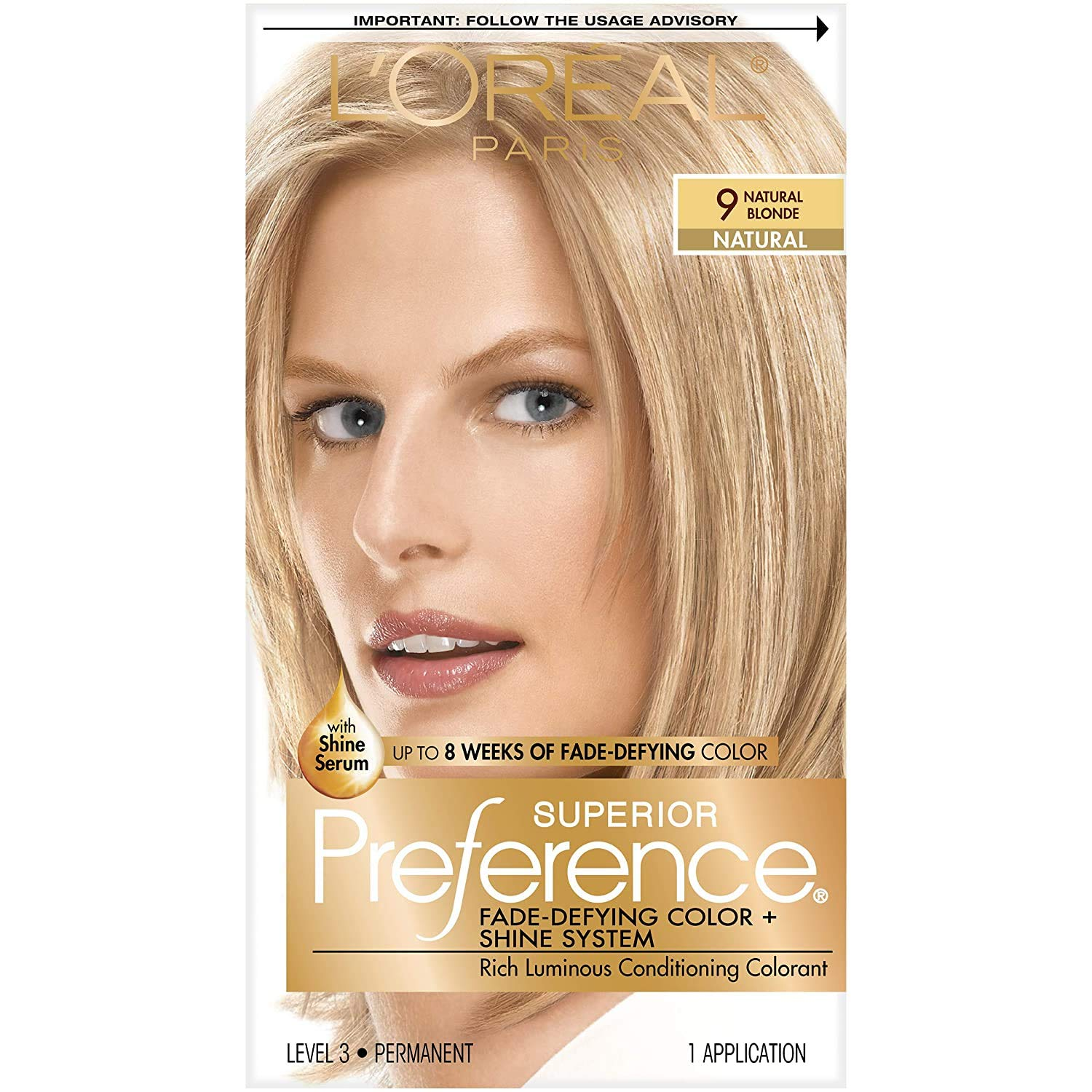 L'Oreal Paris Superior Preference Fade-Defying + Shine Permanent Hair Color, 9 Natural Blonde, Pack of 1, Hair Dye