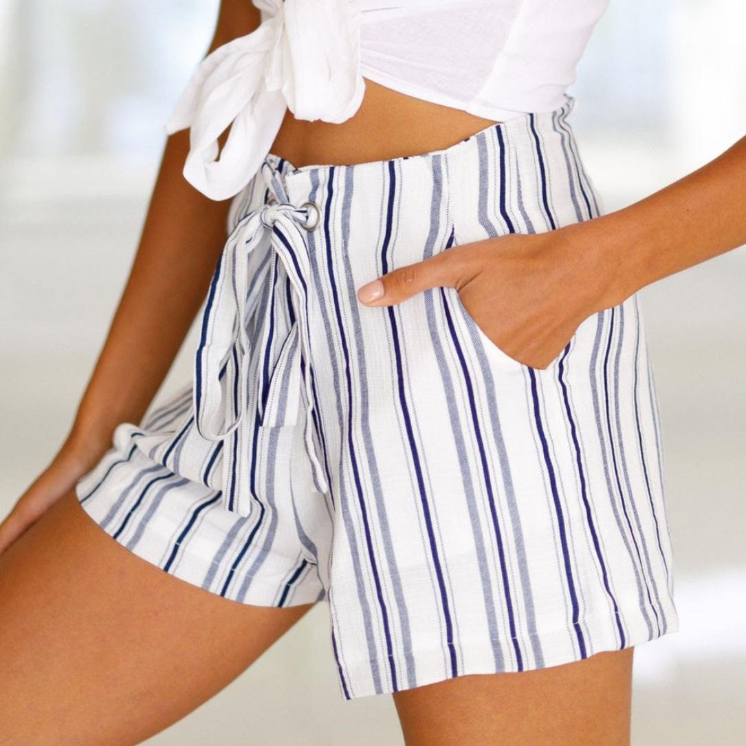 d54fae54568 Amazon.com  Women Shorts Daoroka Ladies Sexy High Elastic Waist Striped Casual  Summer Beach Bohemian New Fashion Hot Pants (S