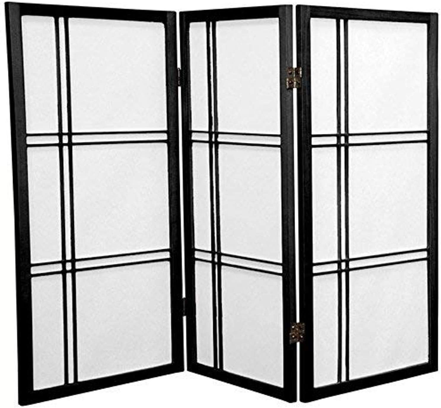 Oriental Furniture 3 ft. Tall Double Cross Shoji Screen - Black - 3 Panels